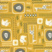Moda - Safari Life by Stacy Iest Hsu - 6842 - Animal Collage on Mustard  - 20644 18 - Cotton Fabric